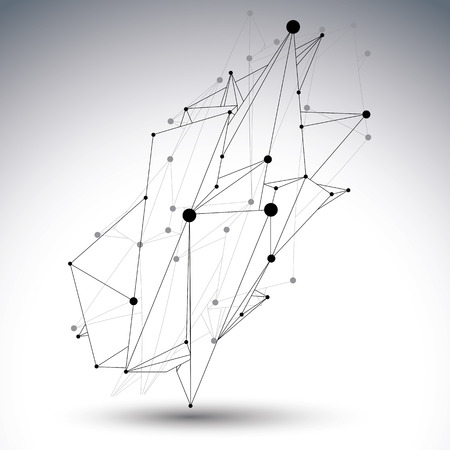 black white: Spatial technological shape, polygonal single color eps8 wireframe creative object made from lines and dots.