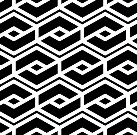 Black and white abstract textured geometric seamless pattern. Symmetric monochrome vector textile backdrop. Splicing lines. Vektorové ilustrace