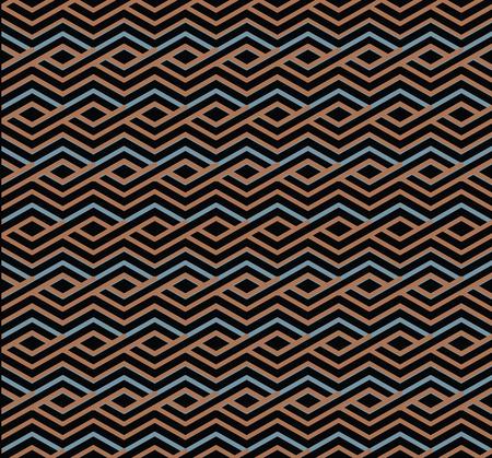 interlace: Brillante astratto seamless con linee intrecciano. Vettore psichedelico wallpaper con strisce. Sfondo decorativo Endless.