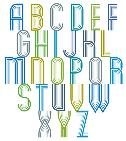 verbs: Inner Echo striped retro 70's style font, trendy geometric letters vector alphabet, vintage typeface. Uppercase letters set. Vector. Illustration