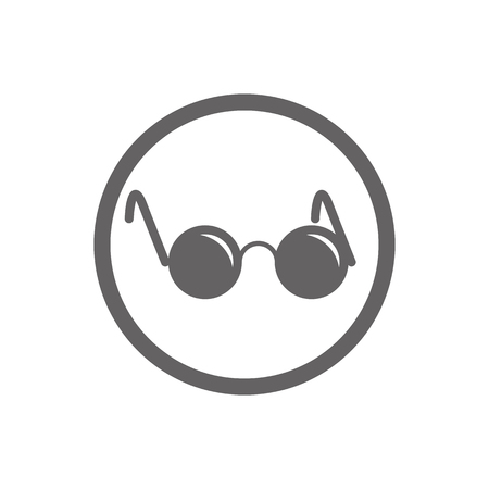 john: Glasses with black round lenses vector icon isolated.