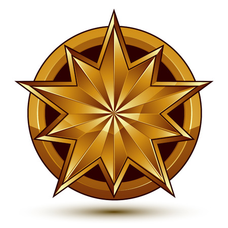 aurum: Vector classic emblem isolated on white background. Aristocratic golden star, clear EPS 8. Illustration