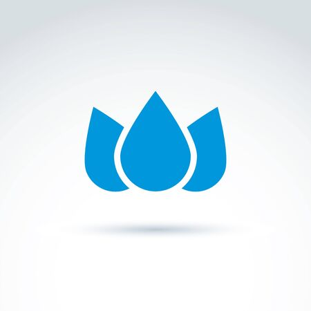 planetary: Blue crown created from three water drops, vector ecology coronet. Ecology symbol on planetary resources theme. Illustration