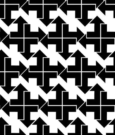 охватывающей: Бесшовные со стрелками, черный и белый бесконечной геометрической текстиля, вектор текстурированные визуальный покрытие. Монохромный вдохновил бесшовных геометрических фон с наконечниками. Иллюстрация