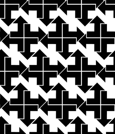 arrowhead: Seamless pattern with arrows, black and white infinite geometric textile, abstract vector textured visual covering. Monochrome inspired seamless geometric background with arrowheads.