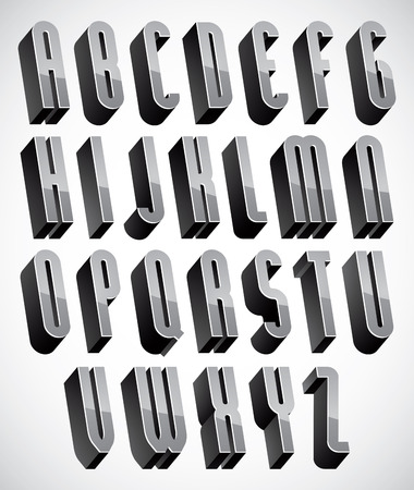 3d dimensional: 3d font, thin and tall dimensional letters set made with round elements, monochrome alphabet for design.