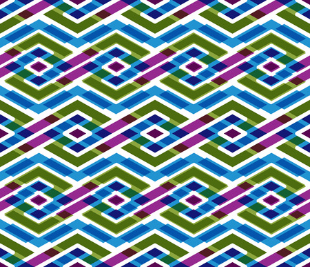 figuration: Bright abstract seamless pattern with interweave lines. Vector psychedelic wallpaper with stripes. Endless overlay decorative background.