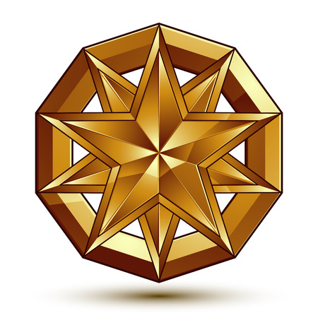 golden star: Vector glorious glossy design element, luxury 3d golden star, conceptual graphic template, clear EPS 8. Illustration