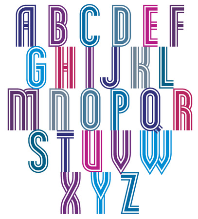 verbs: Retro style triple stripes font, trendy geometric letters vector alphabet. Uppercase letters set. Vector.