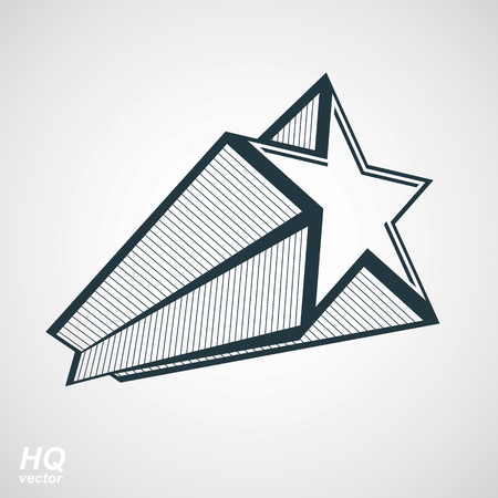 superstar: Astronomy conceptual illustration, pentagonal comet star, celestial object with decorative comet tail. Eps8 superstar icon. Armed forces design element isolated on white background.