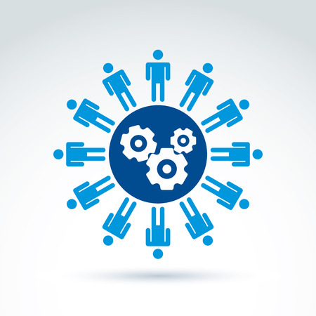 organization: Vector illustration of gears - enterprise system theme, organization strategy concept. Cog-wheels, moving parts and people – components of manufacturing process.