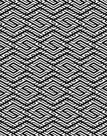 splice: Contrast geometric seamless pattern with symmetric ornament. Lined impose graphic contemporary background. Splice black and white infinite backdrop.