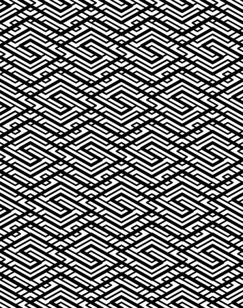 Kontrast geometrische nahtlose Muster mit symmetrischen Ornament. Gefüttert verhängen Grafik zeitgenössischen Hintergrund. Splice Schwarz-Weiß unendlich Kulisse.