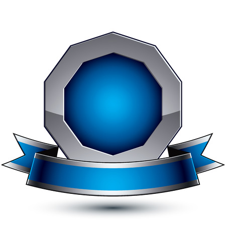 argent: Heraldic 3d glossy blue and gray icon - can be used in web and graphic design, silver ring with blue filling.  Magnificent element with elegant ribbon, clear EPS 8 vector.