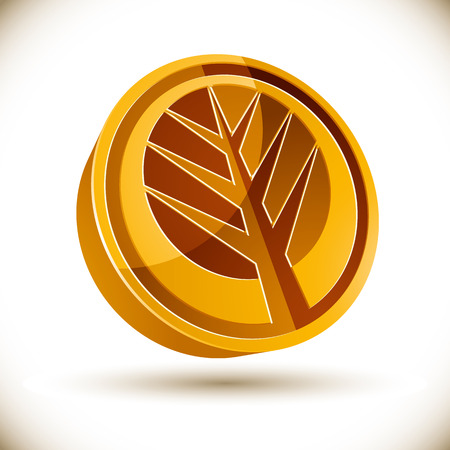 genealogical: Autumn tree 3d vector round icon isolated on white background.