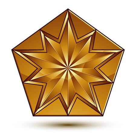 Royal golden geometric symbol, stylized golden star, best for use in web and graphic design, corporate vector icon isolated on white background.