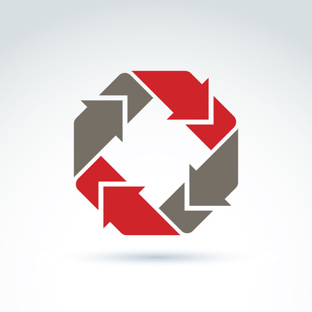 circulate: Vector loop sign, circulation and rotation icon isolated on white background. Abstract colorful design element, corporate geometric symbol with red rotating arrows.