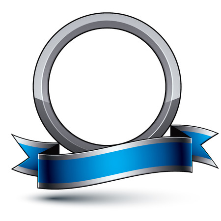 silver ring: Heraldic 3d glossy blue and gray icon - can be used in web and graphic design, silver ring.