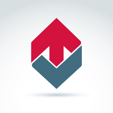 multidirectional: Vector abstract emblem with red up arrow – direction sign, pointer. Checkmark symbol.