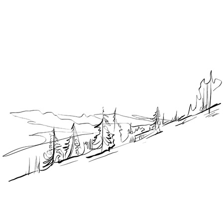 montañas caricatura: Paisaje blanco y negro dibujado a mano, montañas ilustradas.