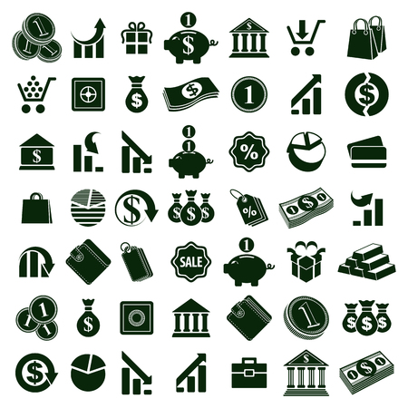 vector set: Money icons isolated on white background vector set, finance theme simplistic symbols vector collections.
