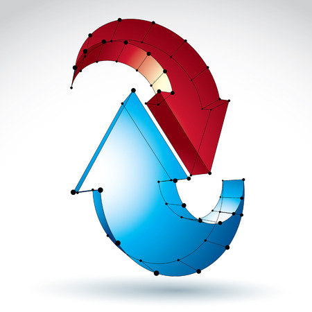 renew: 3d mesh stylish update sign isolated on white background, colorful elegant lattice renew icon, dimensional tech refresh symbol, bright  Illustration