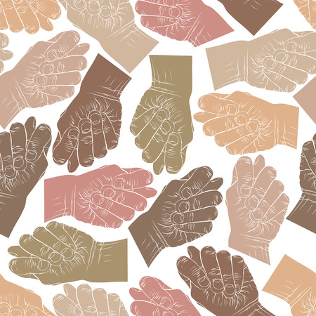 Fig fico hands seamless pattern, vector background for wallpapers, textile or other designs. Illustration
