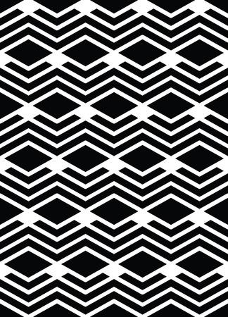 interlace: Monocromatico arte geometrico seamless pattern, vector mosaico in bianco e nero si intrecciano sullo sfondo. Simmetrica fondale artificiale illusoria. Vettoriali