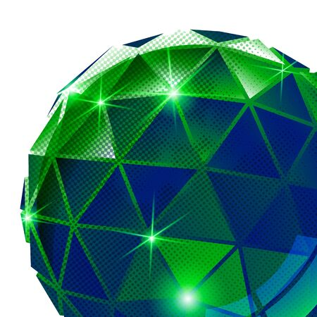 multifaceted: Plastic pixilated background with dimensional sphere, synthetic dotted geometric backdrop.
