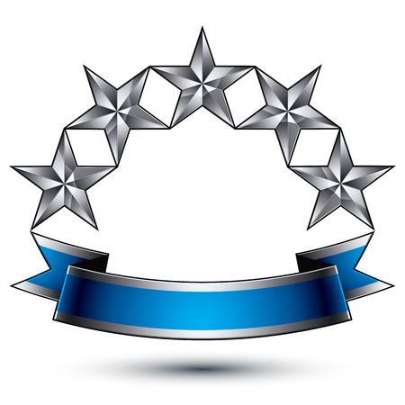 estrellas cinco puntas: Plantilla vector heráldico con estrellas de plata de cinco puntas, dimensiones medallón geométrico real con la cinta ondulada elegante azul sobre fondo blanco. Vectores