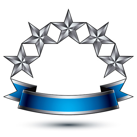 Heraldic vector template with five-pointed silver stars, dimensional royal geometric medallion with blue stylish undulate ribbon isolated on white background.