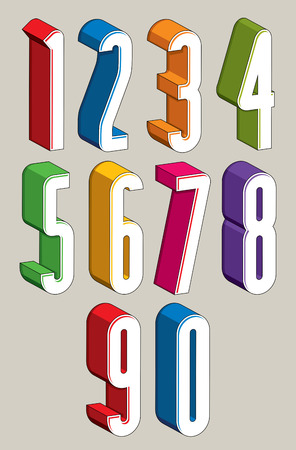 numerals: 3d extra tall numbers set made with round shapes, colorful numerals for advertising and web design. Illustration