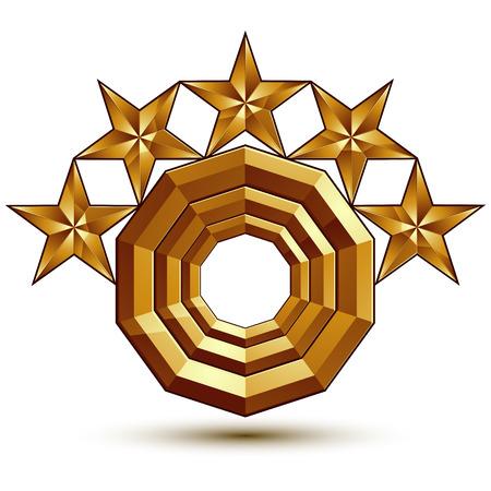 estrellas cinco puntas: Her�ldico icono brillante 3D se puede utilizar en la web y dise�o gr�fico, de cinco puntas estrellas doradas