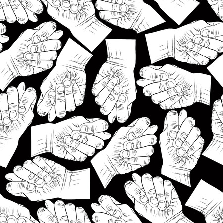 obscene gesture: Fig fico hands seamless pattern, black and white vector background for wallpapers, textile or other designs. Illustration