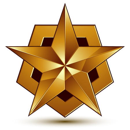 Royal golden geometric symbol, stylized golden star, best for use in web and graphic design Illustration