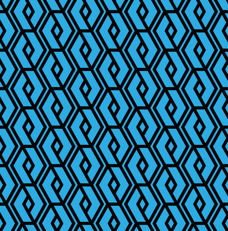 intertwine: Colorful geometric overlay seamless pattern, symmetric endless vector background with intertwine blue lines. Abstract vertical concept splicing covering.