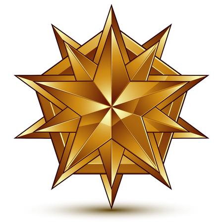 aurum: Vector glorious glossy design element, luxury 3d golden star, conceptual graphic template
