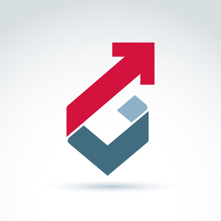 Vector conceptual corporate design element. Abstract geometric symbol, checkmark and red diagonal arrow, infographics icon. Иллюстрация
