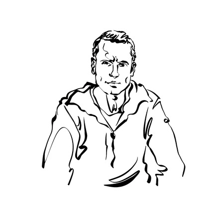 relaxed man: Black and white hand drawn illustration of a relaxed positive man. Illustration