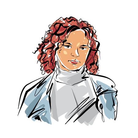 serious: Colorful hand drawn illustration of a woman on white background, red-haired girl.