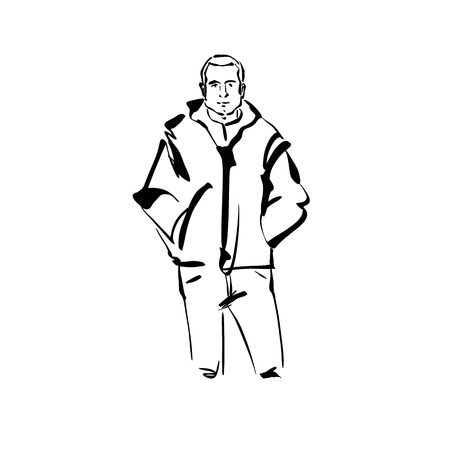 pockets: Black and white hand drawn illustration of a positive man with hands in pockets.