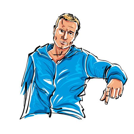 relajado: Coloreado a mano dibujado ilustraci�n de un hombre que se sienta rubio relajado.