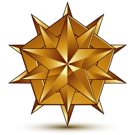 golden star: Heraldic 3d glossy icon can be used in web and graphic design, polygonal golden star