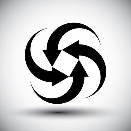 new idea: Four arrows loop conceptual icon, abstract new idea vector symbol. Illustration