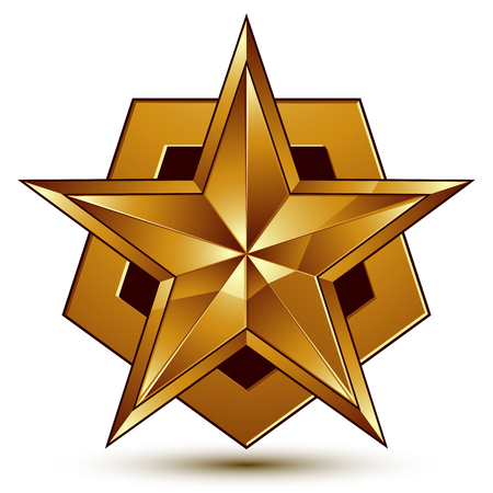 golden star: 3d vector classic royal symbol, sophisticated golden star emblem isolated on white background, glossy aurum element.