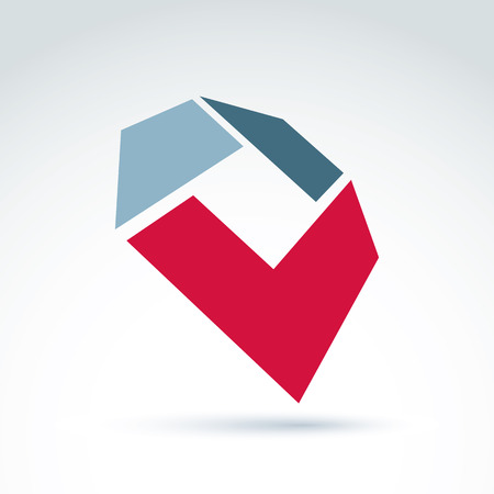 parallelogram: Bright complex geometric corporate element created from separate parts. 3d abstract emblem with red checkmark.