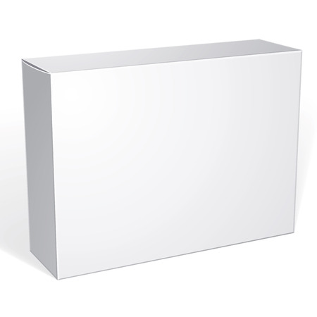 Package white box design isolated on white background, template for your package design, put your image over the box in multiply mode