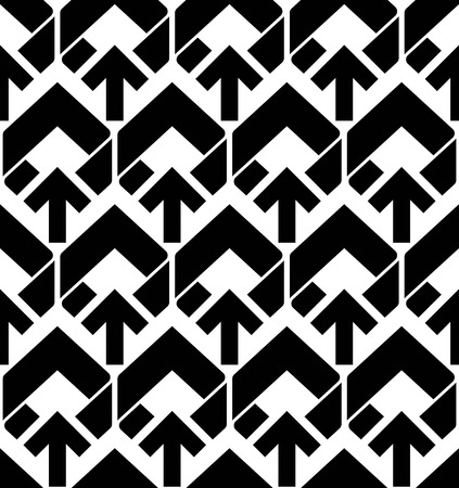 covering: Seamless pattern with arrows, black and white infinite geometric textile, abstract vector textured visual covering. Monochrome inspired seamless geometric background with arrowheads.