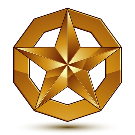 golden star: Heraldic 3d glossy icon can be used in web and graphic design, five-pointed golden star