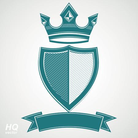Heraldic royal blazon illustration - imperial striped decorative coat of arms.